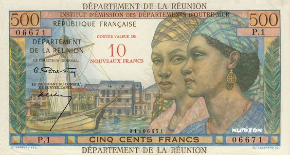 10 NF/500 francs Pointe à Pitre Type 1967  Pick##54