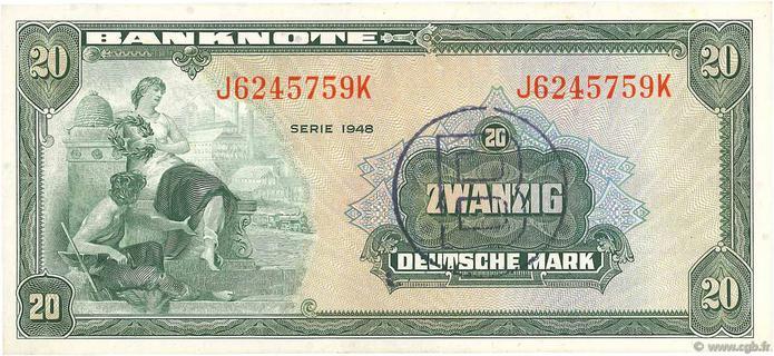 20 Deutsche Mark Type 1948 Pick##6