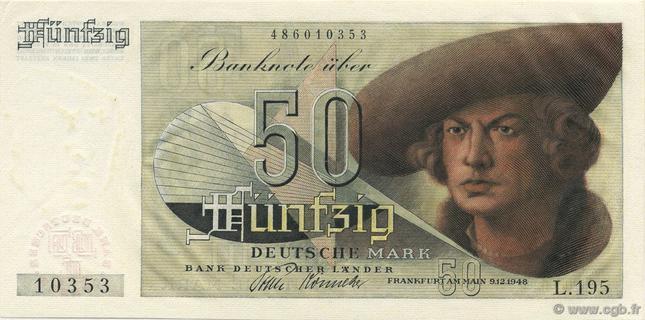 50 Deutsche Mark Type 1948 Hans Imhof Pick##14