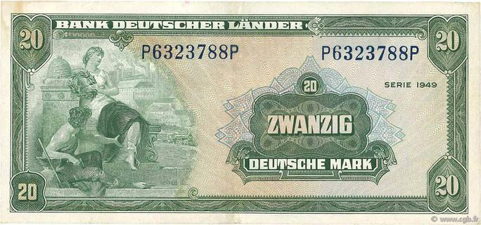 20 Deutsche Mark Type 1949 Pick##17