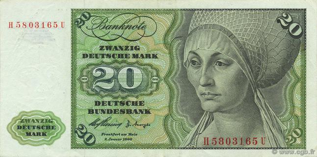 20 Deutsche Mark Type 1960 Pick##20