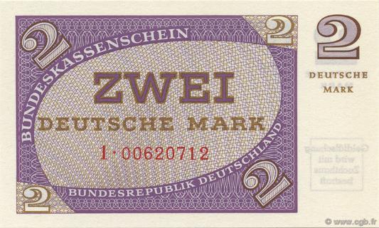 2 Deutsche Mark Type 1967 Pick##29
