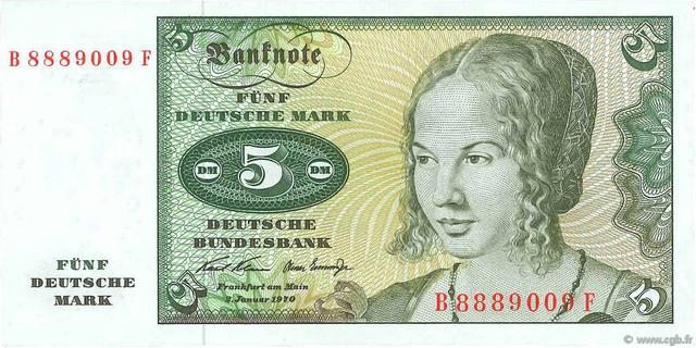 5 Deutsche Mark Type 1970 Pick##30