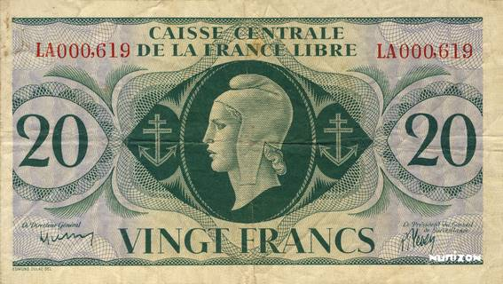 20 francs Type 1943  (GB) Pick##12