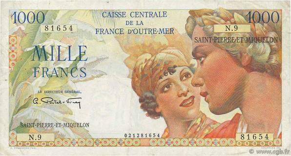 1000 francs Union Française Type 1946 modifié  Pick##28