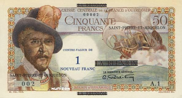 1 NF/50 francs Réunion Type 1960 Pick##30