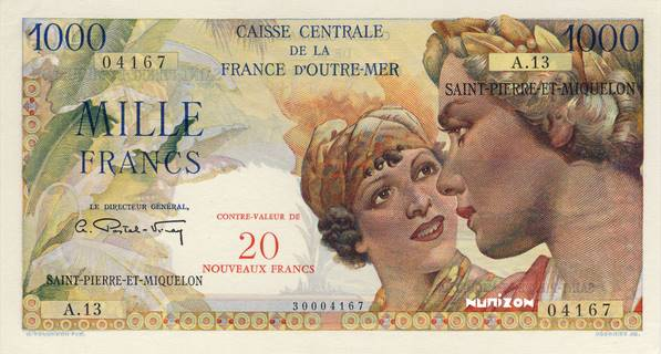 20 NF/1000 francs Union Française Type 1960 Pick##34