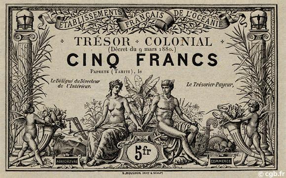 5 francs Trésor Colonial Type 1880 Pick##NL1