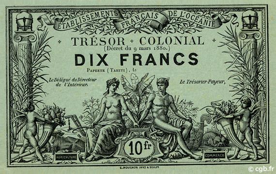 10 francs Trésor Colonial Type 1880 Pick##NL2