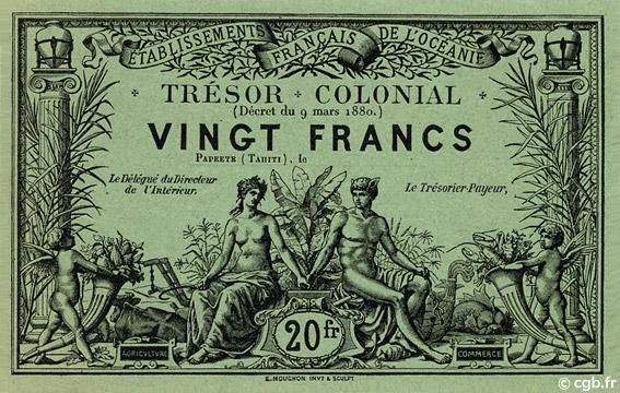 20 francs Trésor Colonial Type 1880 Pick##NL3