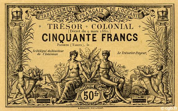 50 francs Trésor Colonial Type 1880 Pick##NL5