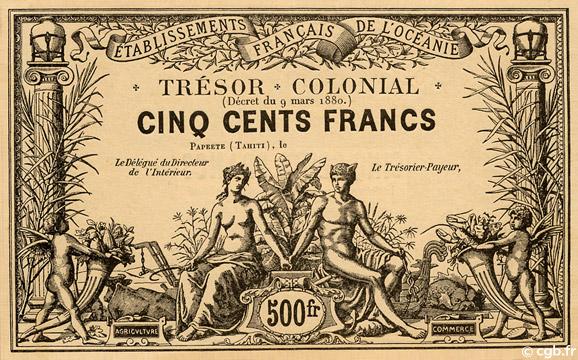 500 francs Trésor Colonial Type 1880 Pick##NL7