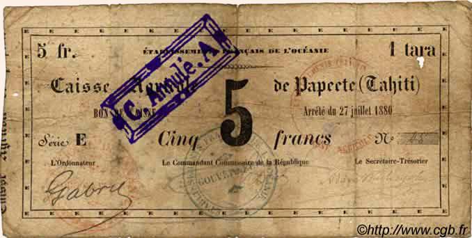 1 Tara = 5 francs Type 1880 Pick##NL8