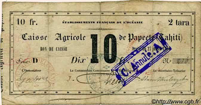 2 Tara = 10 francs Type 1880 Pick##NL9
