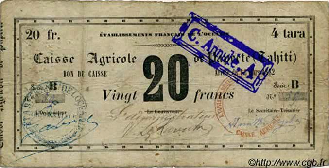 4 Tara = 20 francs Type 1882 Pick##NL10