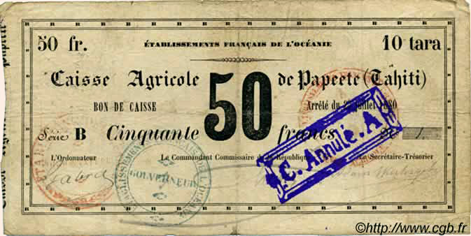 10 Tara = 50 francs Type 1880 Pick##NL11
