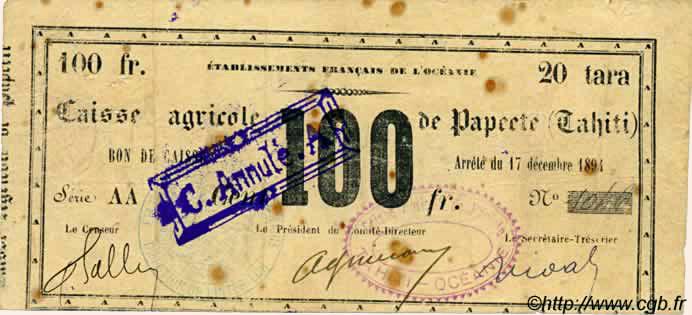 20 Tara = 100 francs Type 1894 Pick##NL12