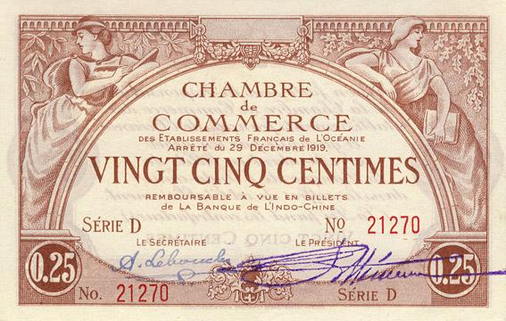 25 centimes Type 1919 impression US Pick##FO1