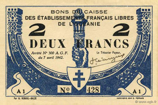 2 francs Type 1942 France Libre Pick##FO9
