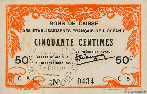 50 centimes Type 1943 France Libre Pick##FO10