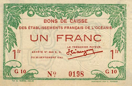 1 franc Type 1943 France Libre Pick##FO11