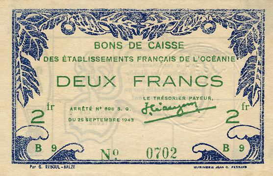 2 francs Type 1943 France Libre Pick##FO12