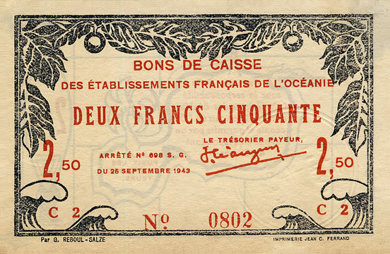 2,50 francs Type 1943 France Libre Pick##FO13