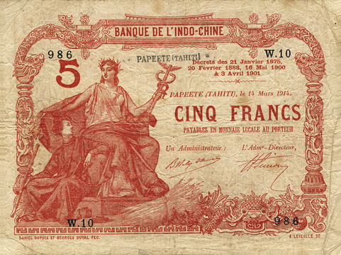 5 francs Type 1905 Papeete avec décrets Pick##1