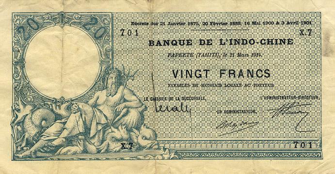 20 francs Type 1905 Papeete avec décrets Pick##2