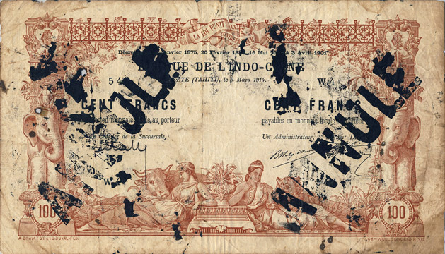 100 francs Type 1905 Papeete avec décrets Pick##3