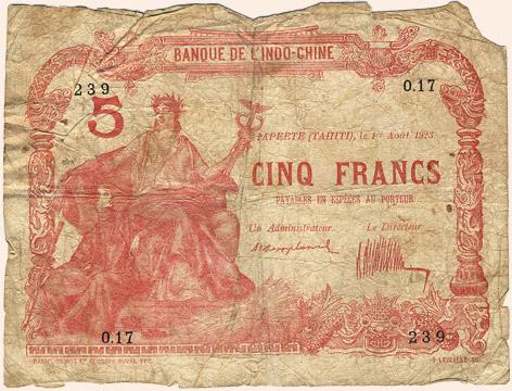 5 francs Type 1923 Papeete sans décrets Pick##4