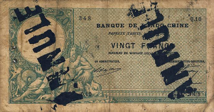 20 francs Type 1926 Papeete sans décrets Pick##5
