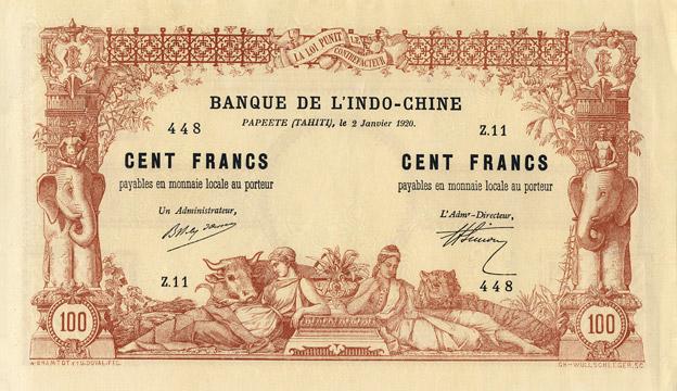 100 francs Type 1920 Papeete sans décrets Pick##6