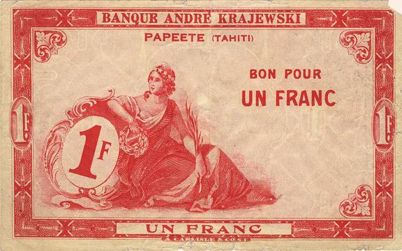 1 franc Type 1920 Banque Krajewski Pick##9