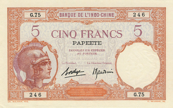 5 francs Type 1927 Papeete Pick##11