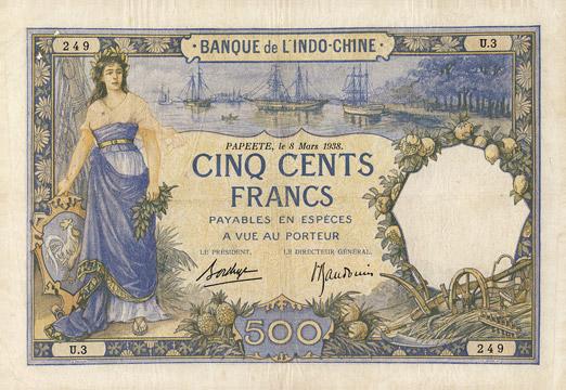 500 francs Type 1923 Papeete Pick##13