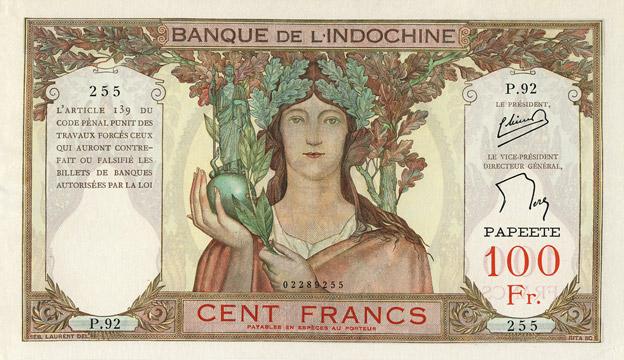 100 francs Type 1937 Papeete Pick##14