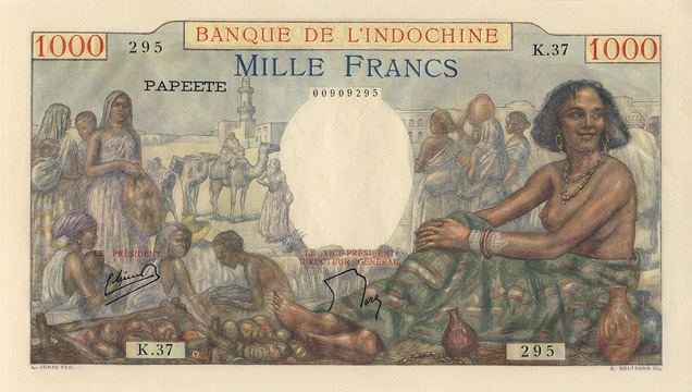 1000 francs Type 1938 Papeete Pick##15