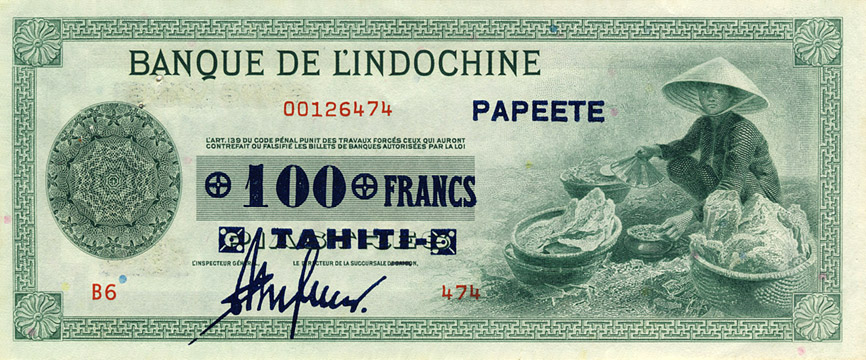 100 francs Type 1941 Papeete impression US Pick##17