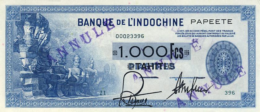 1000 francs Type 1945 Papeete impression US Pick##18