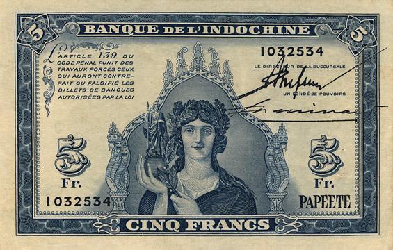 5 francs Type 1944 Papeete Pick##19