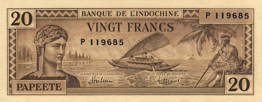 20 francs Type 1944 Papeete Pick##20