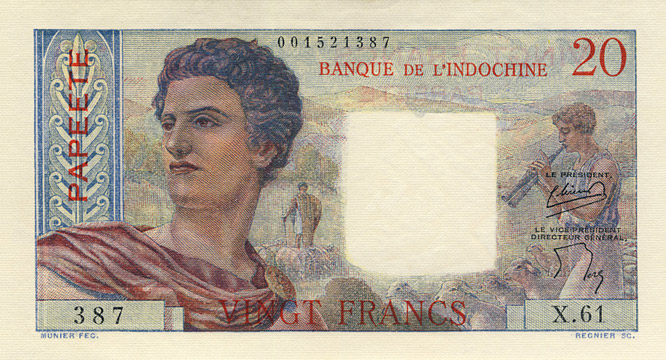 20 francs Type 1951 Papeete Pick##21