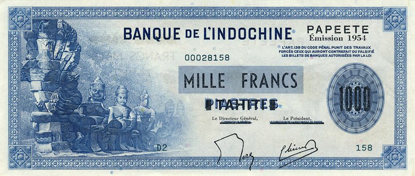 1000 francs Type 1954 Papeete impression US Pick##22