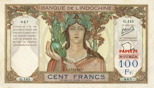 100 francs Type 1940 Nouméa surchargé Papeete Pick##16A