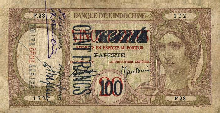 100 francs sur 20 francs Type 1940 Paon Pick##16