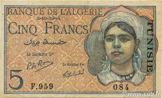 5 francs Type 1944  Signature Secrétaire Pick##16