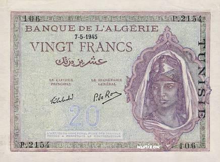 20 francs Type 1943  Signature Secrétaire Pick##18