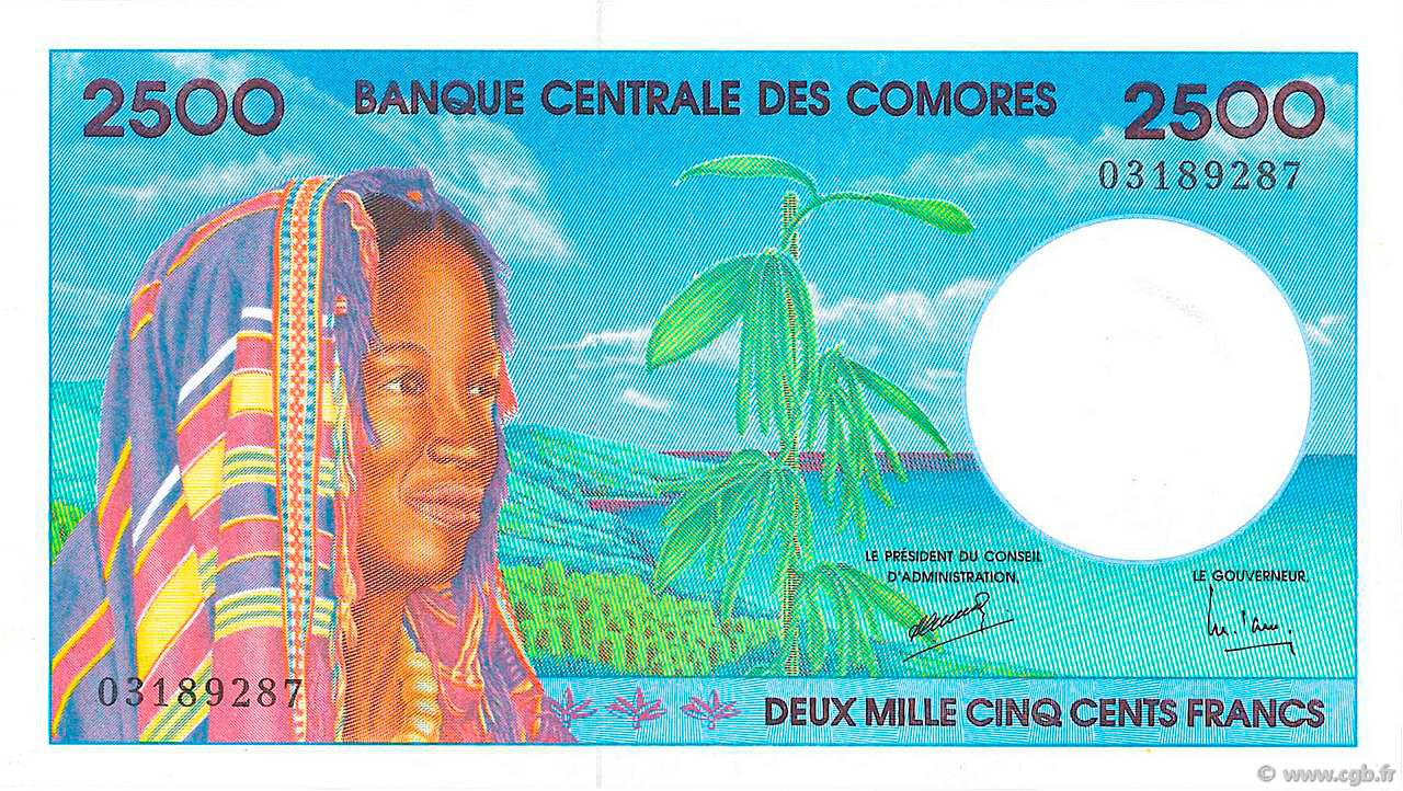 Reproduction Comoros comores 5000 francs 1984 UNC