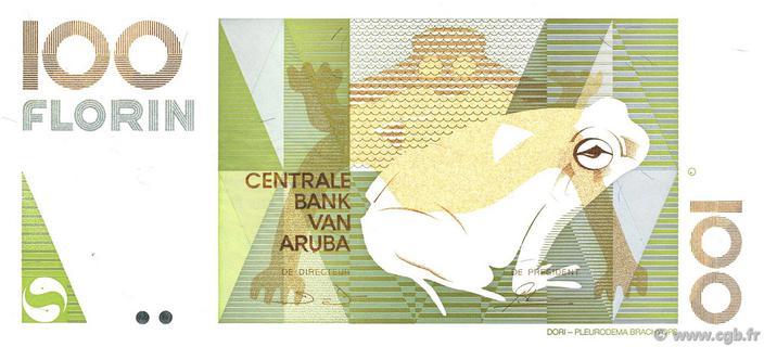 ARUBA 100 FLORIN P14 1993 FROG ART UNC ANIMAL DUTCH RARE CURRENCY BILL BANK NOTE